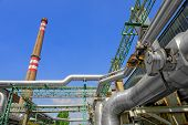 foto of thermal  - Beautiful sunshine with a thermal power plant - JPG