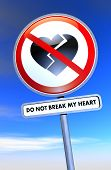 stock photo of broken heart  - Road sign with broken heart and text - JPG