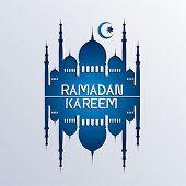 stock photo of hari raya  - ramadan background paper art style  - JPG
