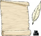 image of inkpot  - Parchment and quill with inkpot vector illustration - JPG