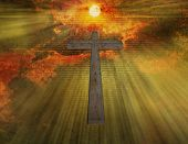 image of sobriety  - Cross floats in sky with new testament passages - JPG