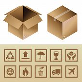 stock photo of hand truck  - Vector cardboard delivery box and package icons  - JPG
