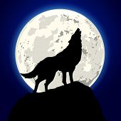 stock photo of blue moon  - detailed illustration of a howling wolf in front of the moon - JPG