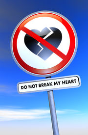 pic of broken heart  - Road sign with broken heart and text - JPG