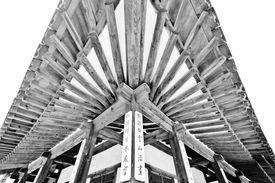 stock photo of hangul  - Hangul village house roof in black and white - JPG