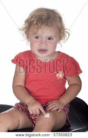 Little Girl Or Toddler With A Plaster On Her Leg