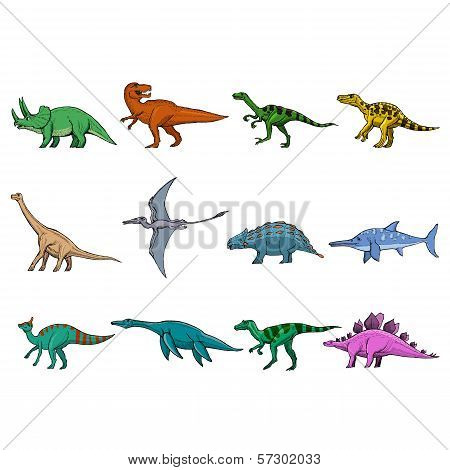 Set Of Different Dinosaurs