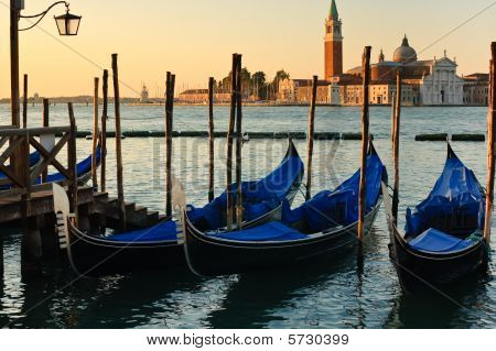 Gondolas And Church In Venice