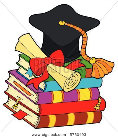 Graduation hat on pile of books