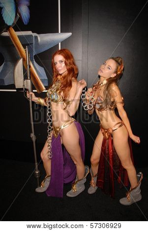 Phoebe Price and Paula Labaredas at the annual Slave Leia Group Photo at ComicCon, San Diego Convention Center, San Diego, CA. 07-23-10