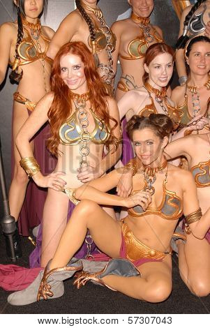 Phoebe Price and Alicia Arden at the LeiasMetalBikini.com annual Slave Leia Group Photo at ComicCon, San Diego Convention Center, San Diego, CA. 07-23-10