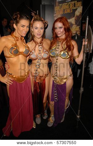 Alicia Arden, Paula Labaredas and Phoebe Price at the annual Slave Leia Group Photo at ComicCon, San Diego Convention Center, San Diego, CA. 07-23-10