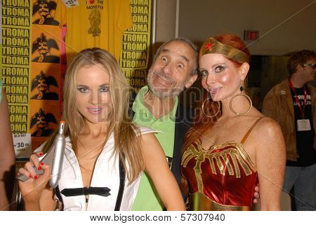 Paula Labaredas as Barbarella, Lloyd Kaufman and Phoebe Price as Wonder Woman members at San Diego Comic Con, San Diego Convention Center, San Diego, CA. 07-24-10