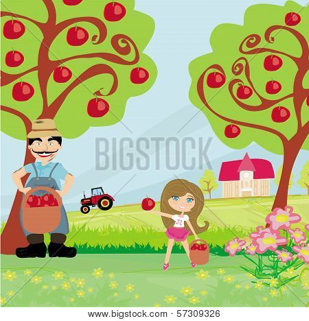 Farmer And His Daughter In The Orchard