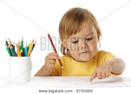 Pontos de criança em seu desenho