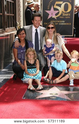 Mark Wahlberg with wife Rhea Durham and children, Ella, Grace and Michael at Mark Wahlberg's Star Ceremony on the Hollywood Walk Of Fame, Hollywood, CA. 07-29-10