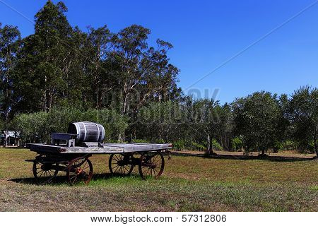 Oak wine barrel on a cart, Hunter Valley, Australia