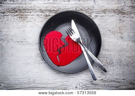 Plate With Broken Heart