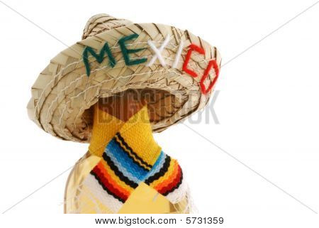 Bottle Of Booze With Straw 'mexico' Hat.