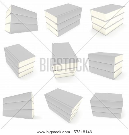Blank books cover set over white background