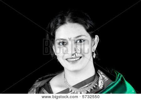 Green Sari Woman