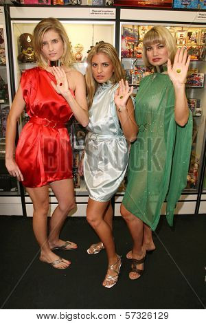 models Ashley King, Bridgetta Tomarchio and Rena Riffel at the Girls and Corpses Magazine Summer Alien Autopsy Issue Party, Meltdown Comics, Hollywood, CA. 08-20-10