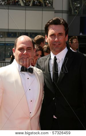 Matthew Weiner, Jon Hamm  at the 2010 Primetime Creative Arts Emmy Awards,  Nokia Theater L.A. Live, Los Angeles, CA. 08-21-10
