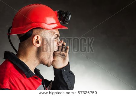 Angry Coal Miner Shouting
