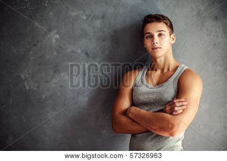 Portrait Of Muscular Young Handsome Man