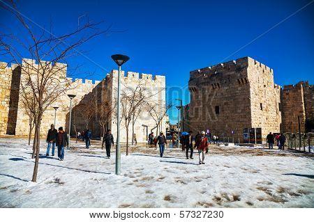 Jaffa Gate In Jerusalem After A Snow Storm