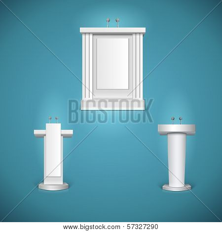 White tribunes with microphone vector illustration