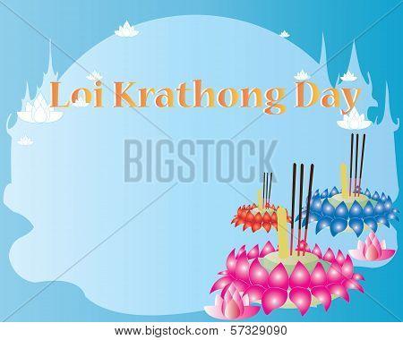Loy Krathong Card - Happy festival in thailand