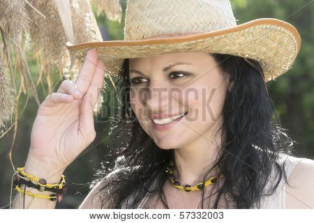 Portrait Of Girl In Hat.