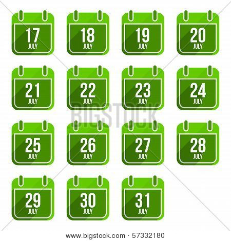 Julytor flat calendar icons. Days Of Year Set 20