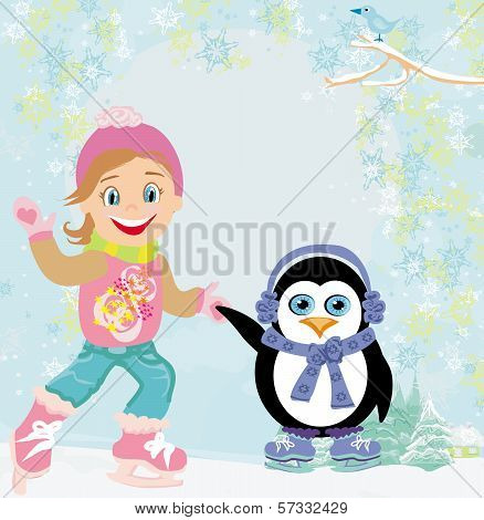 Girl And Penguin Ice Skating