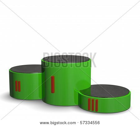 Green Cylindrical Sports Victory Podium With Red Roman Numerals