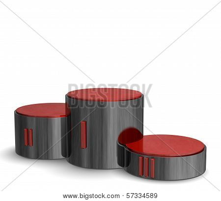 Black Reflective Cylindrical Sports Victory Podium With Red Roman Numerals