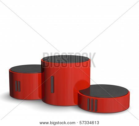 Red Cylindrical Sports Victory Podium With Black Roman Numerals