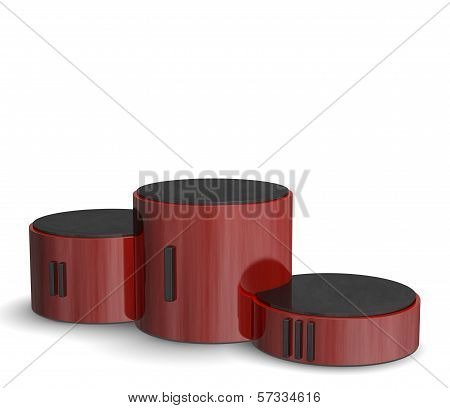Red Reflective Cylindrical Sports Victory Podium With Black Roman Numerals
