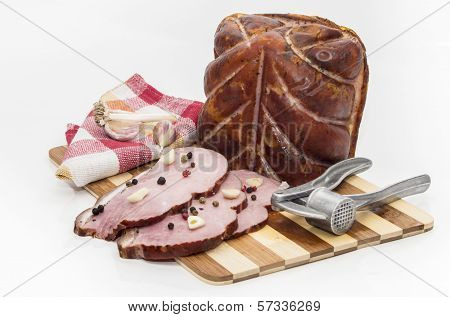 Pieces of pork on a cutting board
