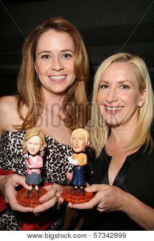 Jenna Fischer and Angela Kinsey with their bobble-heads  at the 3rd Annual Fur Ball at the Skirball, benefitting Kitten Rescue of Los Angeles, Skirball Cultural Center, Los Angeles, A. 09-11-10
