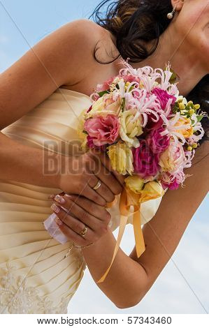 Bride And Bouquet. Wedding Bouquet. Bouquet In The Hands Of The Bride. Bride Holding A Wedding Bouqu