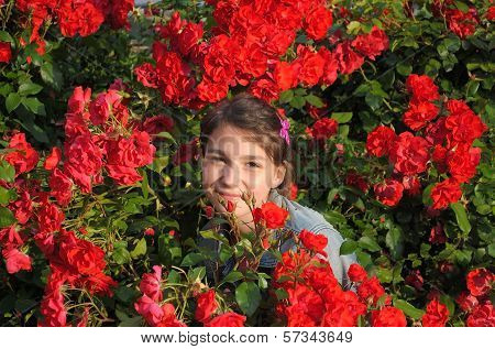 Girl and roses.