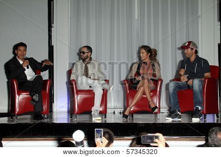 Mario Lopez, Yandel, Jennifer Lopez, Enrique Iglesias at the Jennifer Lopez and Enrique Iglesias Summer Tour 2012 Press Conference, Blvd. 3, Hollywood, CA 04-30-12
