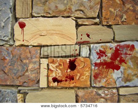 Blood Splattered On A Stone Wall