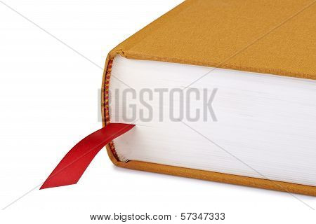 Brown Book With A Red Bookmark