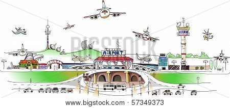 City airport illustration, city collection