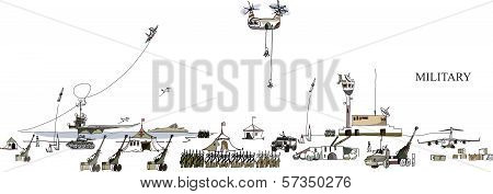 Army on move, military concept illustration