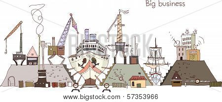 Shipyard repairing work illustration