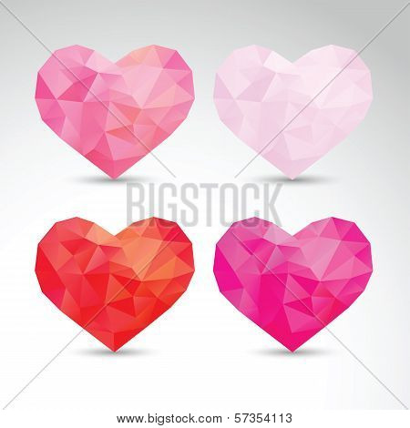 set of crystallized hearts